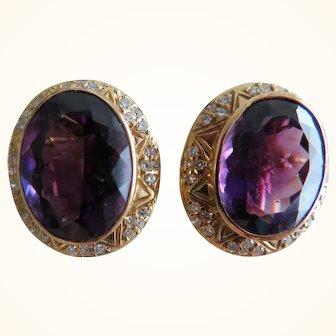 18K Amethyst & Diamond Clip On Earrings
