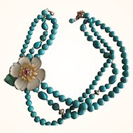 "Turquoise Beaded Necklace Flower with Red Stone Center 16"" to 19"" L"
