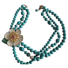 """Turquoise Beaded Necklace Flower with Red Stone Center 16"""" to 19"""" L"""