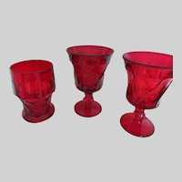 Cranberry Red Drinking Glasses - Vintage