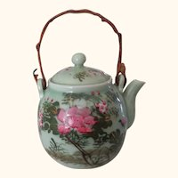 Tea Pot Antique Asian Celadon Pink Flowers