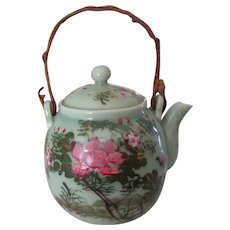 Tea Pot Antique Asian Celadon Pink Flowers