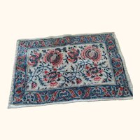 "Miniature Oriental Rug 15"" X 9"" Authentic Salesman Sample"
