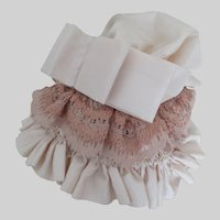 """Doll Hat Ivory Sateen w/ Gold Pinkish Lace w/Bow 12-14"""" Doll"""