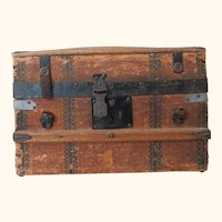 Antique Fashion Doll Domed Trunk with Tray and Key
