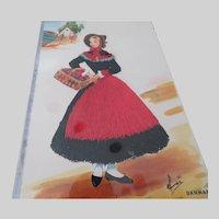 Vintage Emroidered Clothing Lady Postcard