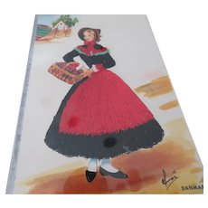 Vintage Emroidered Clothing Lady Postcard