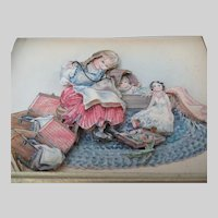 Diorama of Girl Sewing in Frame