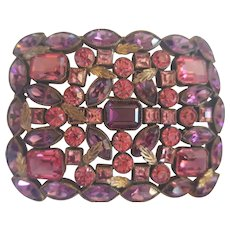 Art Deco Large Purple Pink Faceted Glass Brooch