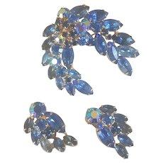 KRAMER Shades of Blue Rhinestone Brooch Earrings Set