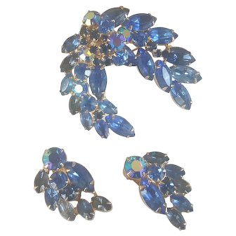 KRAMER Shades of Blue Rhinestone Brooch Earrings Set