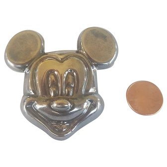 Large STERLING  Mickey Mouse Face Brooch Pendant