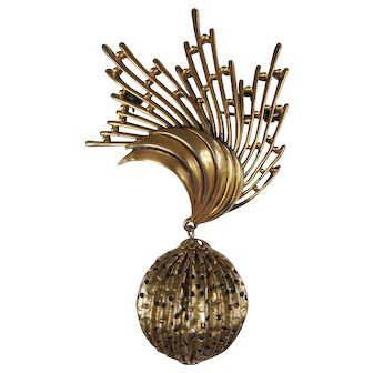 TORTOLANI Goldtone Mid-Century Dangle Sphere Brooch