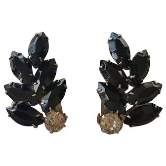 WEISS Vintage Black & Clear Rhinestone Earrings Pair