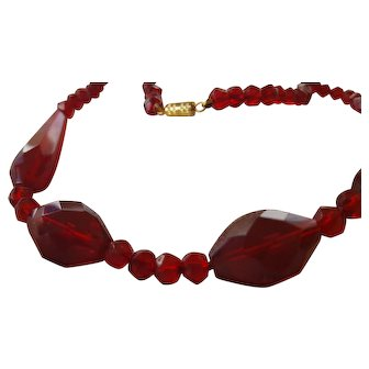 Vintage Red Faceted Glass Bead  Necklace 20""