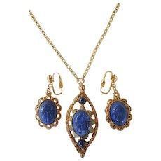 Vintage Egyptian Revival Blue Scarab Set