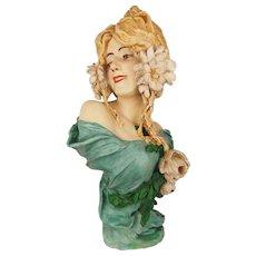 TOP Antique Art Nouveau 1900 Bust By Cherc, Goldscheider Girl with Flowers