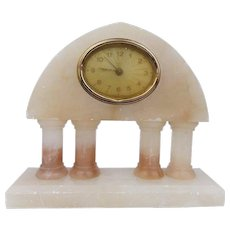 Vintage 1930s Art Deco Alarm Clock German Pink Alabaster
