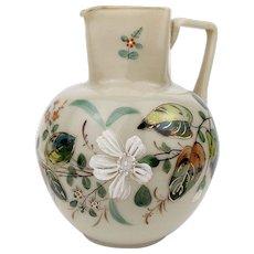 Antique Harrach 1880-1890 Pitcher Opaque Milk Glass with Enamel Jug Bohemia