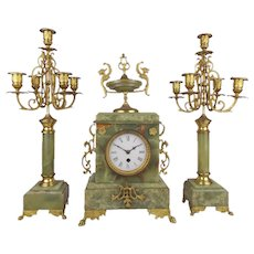 Vintage French 1920 Mantel Clock and Pair of Candelabra Green Onyx and Bronze