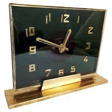 Vintage 1930s Art Deco Green Glass & Brass Desk Mantel Clock translucent Decor