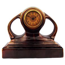 Antique 1910s Art Nouveau Majolica Mantel Clock with Curved Handles