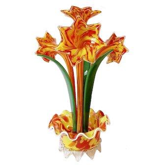 RARE Franz Welz 1930 HUGE Art Deco Spatter Glass Sculpture Flower Czechoslovakia