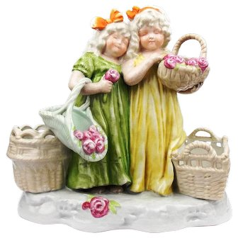 Antique 1890 Porcelain Figurine of Two Children With Baskets and Flowers Germany