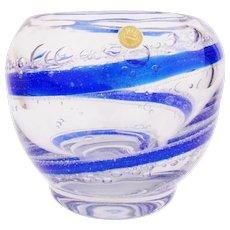 Vintage 1960s Glass Vase THERESIENTHAL German Design Clear & Blue Air Bubbles