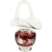Vintage 1920s Cut to Clear Ruby Red Glass EGERMANN Engraved Basket