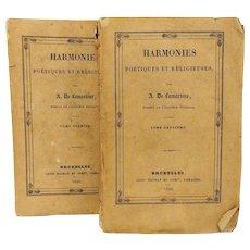 Antique 1830 2 Volumes Original Edition of Harmonies Poétiques et Religieuses