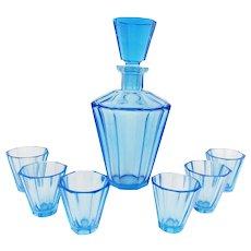 Vintage 1920s Art Deco Blue Glass Drinking set Faceted Decanter