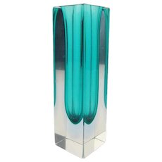 Vintage MURANO Sommerso Faceted Cut Glass Vase Clear & Blue Glass Block