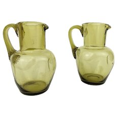2 Antique 19th century Bohemian Wine Pitchers Green Glass Harrach Jugs Decanters