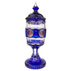 Antique 1860 Biedermeier Glass Deckelpokal Pokal Goblet Beaker Faceted Bohemia