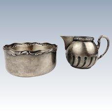 Vintage 1920 Creamer & Sugar Bowl WMF Silverplate Tea & Coffee set Art Nouveau
