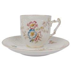 Antique 1890 Slavkov - Schlaggenwald Porcelain Coffee Tea Cup & Saucer