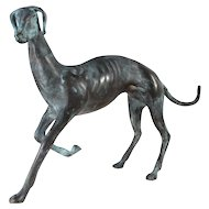 Elegant Bronze Italian Greyhound Table Top Sculpture  / Bronze Whippet Sculpture