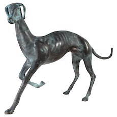Elegant Bronze Italian Greyhound Table Top Sculpture  / Bronze Whippet Sculpture