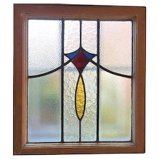 Vintage Art Deco Beveled Stained Glass Transom Window