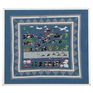 Hmong Folk Art Embroidered Tapestry Depicting the Secret War in Laos / Asian Folk Art Tapestry