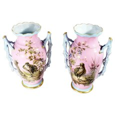 BDL Pair of Antique Limoges Porcelain Vases with Bird Floral Motif and Claw Handles Bawo Dotter pre-Elite Works