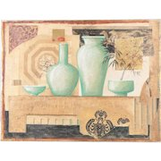 """""""Collage: Green Vases"""" Mixed Media Fresco Painting $369"""