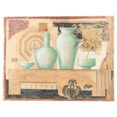"""Collage: Green Vases"" Mixed Media Fresco Painting by Jacques Lamy / Original Mixed Media Fresco Painting"