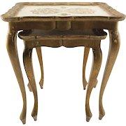 Italian Gilt Florentine Nesting Tables - a Pair