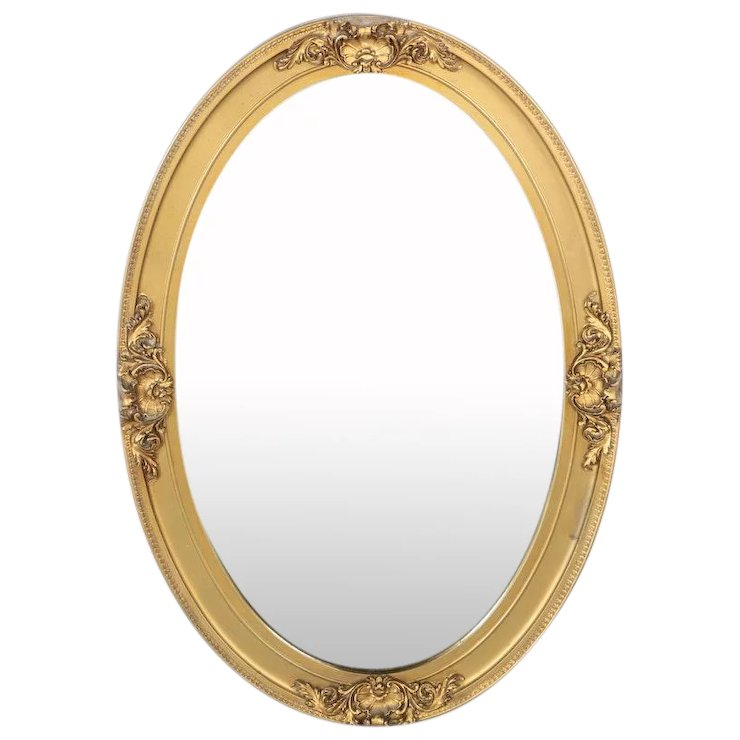 Vintage Oval Gilded Deco Wall Mirror With Floral Accents