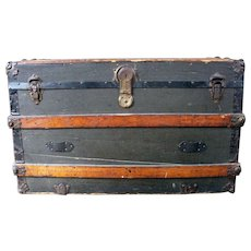Antique Wood and Metal Tack Trunk Late 19th Century American / Vintage Steamer Trunk Wood Coffee Table