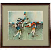 Acrylic Painting on Canvas of Figure Skaters by Joyce Roybal / Original Joyce Roybal Acrylic Painting Figure Skaters
