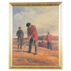 """George Glennie Putting at Blackheath With Putting Cleek"" Heywood Hardy Lithograph / Golf Collector 19th Century Golf Lithograph George Glennie"