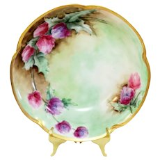 """J & C Louise Bavaria 9.75"""" Hand Painted Scalloped Gold Rim Floral Center and Sides Center Serving Bowl"""